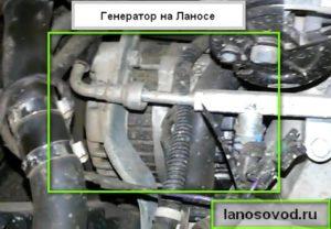 Место расположения на ланосе генератора
