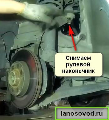 Вывинчивается гайка крепления наконечника рулевой тяги