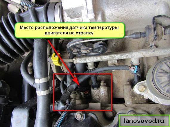 Где находится датчик указателя температуры двигателя Ланос