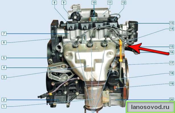 Где находится датчик включения вентиляторов Ланос