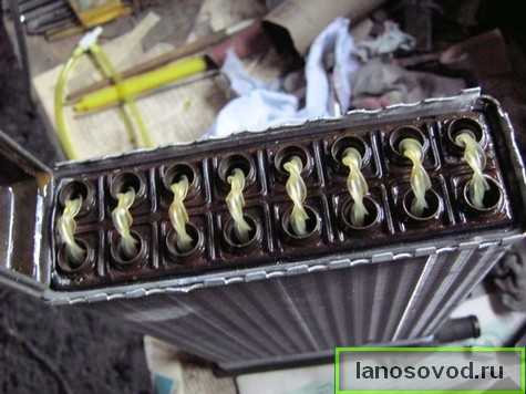 Радиатор печки с круглыми трубками в ланос