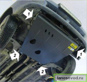 Снять защиту двигателя Ланос