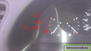Стрелочный указатель температуры Ланос