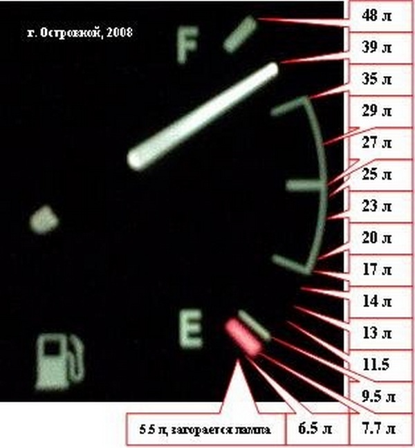 Шкала количества топлива в баке Ланос