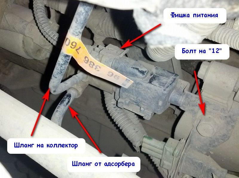 Инструкция по снятию клапана продувки адсорбера Ланос